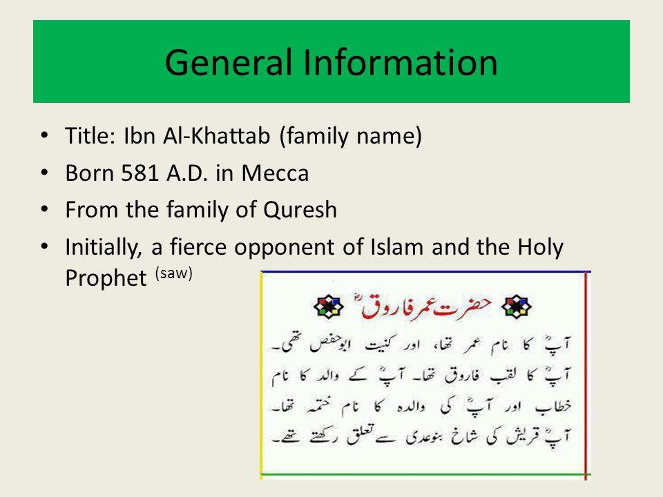 General Information Title: Ibn Al-Khattab (family name)