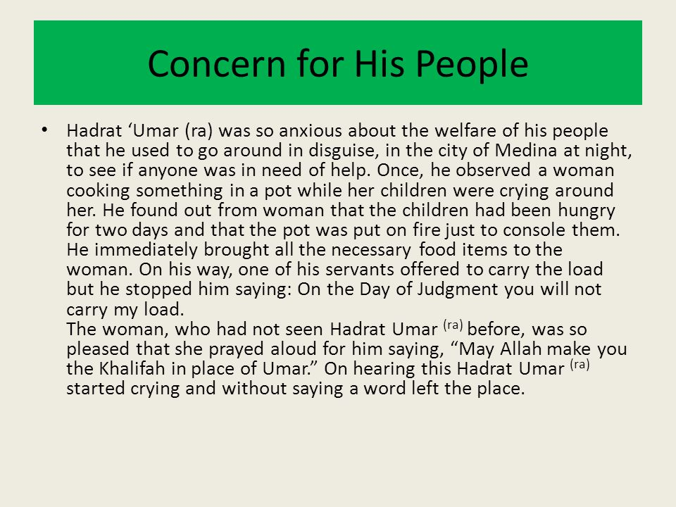 Concern for His People