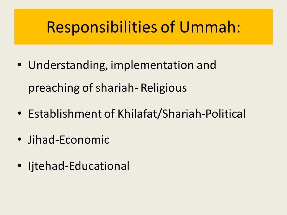 Responsibilities of Ummah: