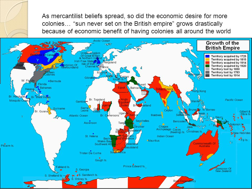 As mercantilist beliefs spread, so did the economic desire for more colonies… sun never set on the British empire grows drastically because of economic benefit of having colonies all around the world