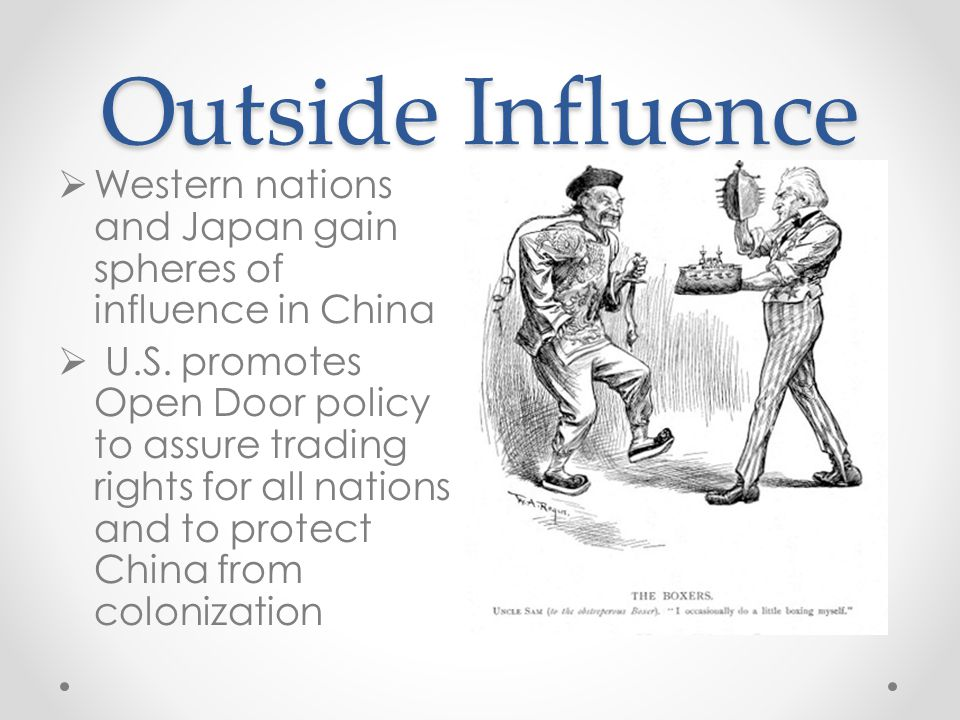 Outside Influence Western nations and Japan gain spheres of influence in China.