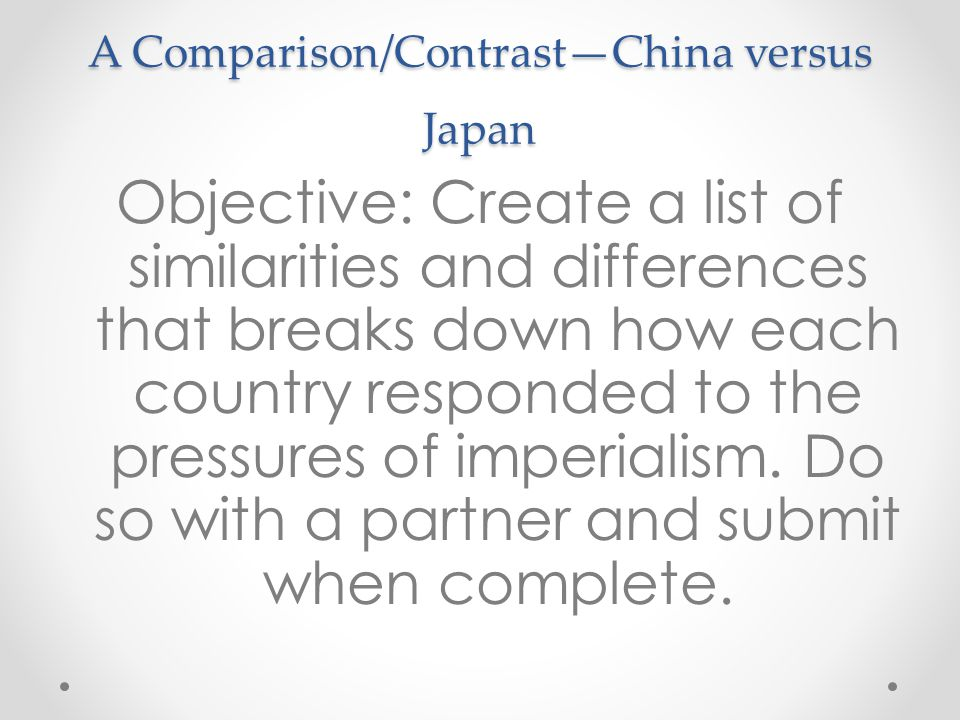 A Comparison/Contrast—China versus Japan