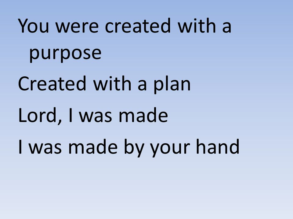 You were created with a purpose