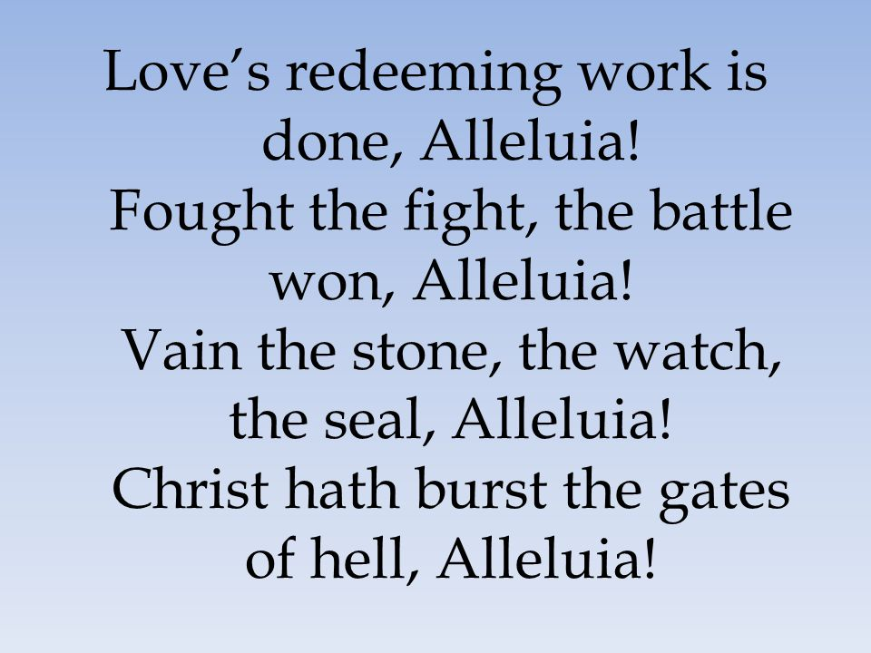 Love's redeeming work is done, Alleluia