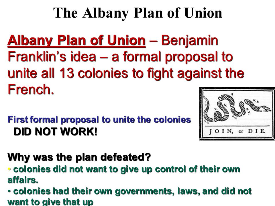 an analysis of the failure of the albany plan by benjamin franklin