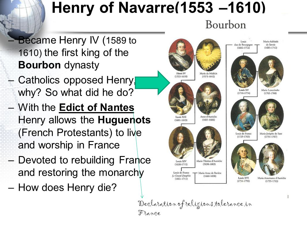 Henry of Navarre(1553 –1610) Became Henry IV (1589 to 1610) the first king of the Bourbon dynasty. Catholics opposed Henry, why So what did he do