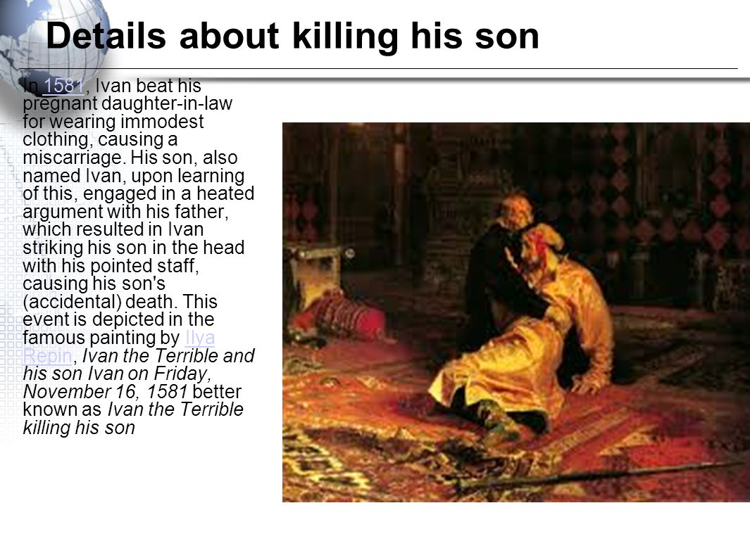 Details about killing his son