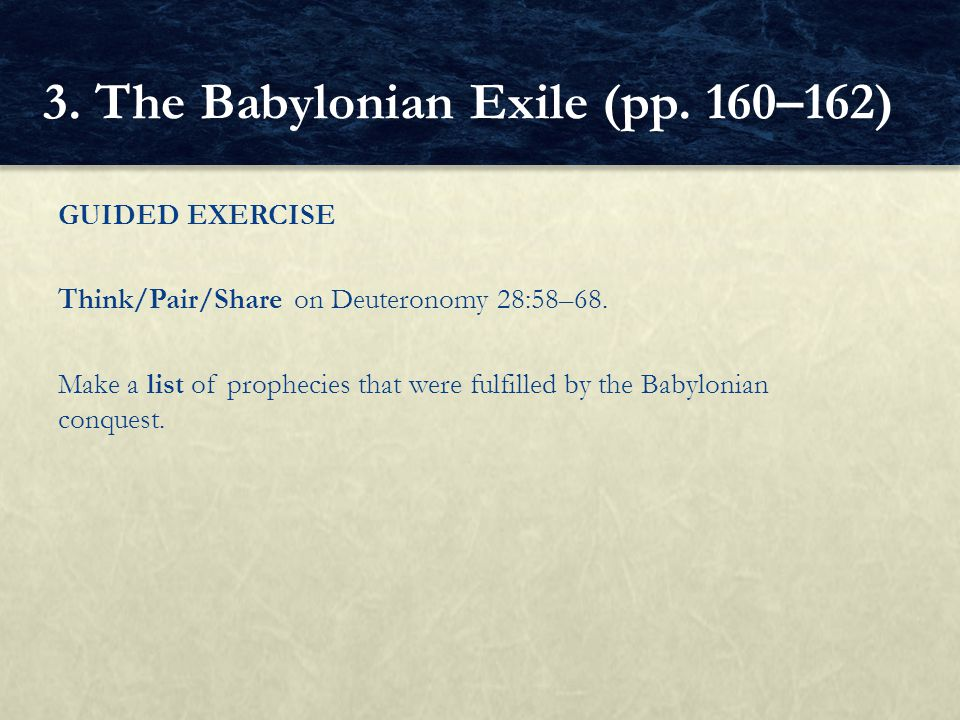 3. The Babylonian Exile (pp. 160–162)