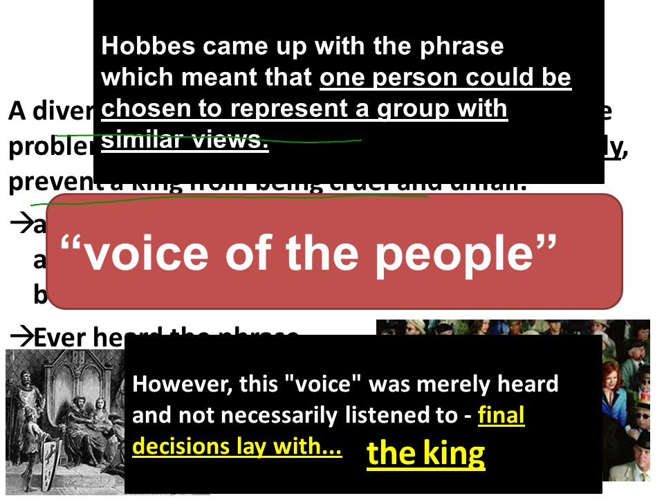voice of the people Hobbes proposed that… the king