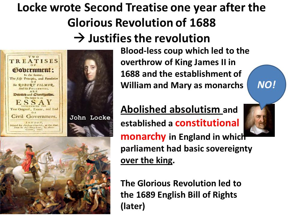 Locke wrote Second Treatise one year after the Glorious Revolution of 1688  Justifies the revolution