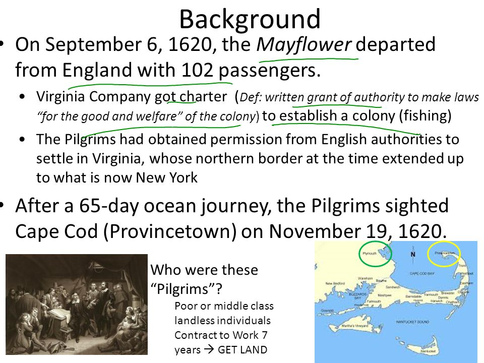 Background On September 6, 1620, the Mayflower departed from England with 102 passengers.