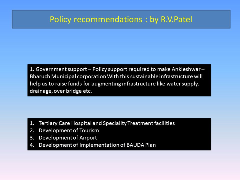 Policy recommendations : by R.V.Patel
