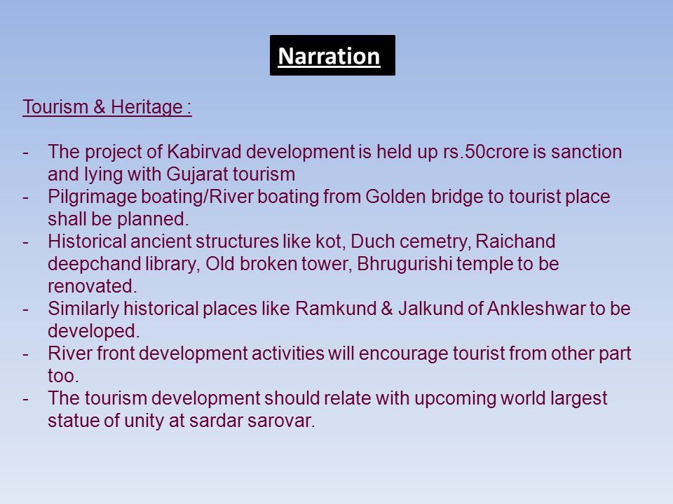 Narration Tourism & Heritage :