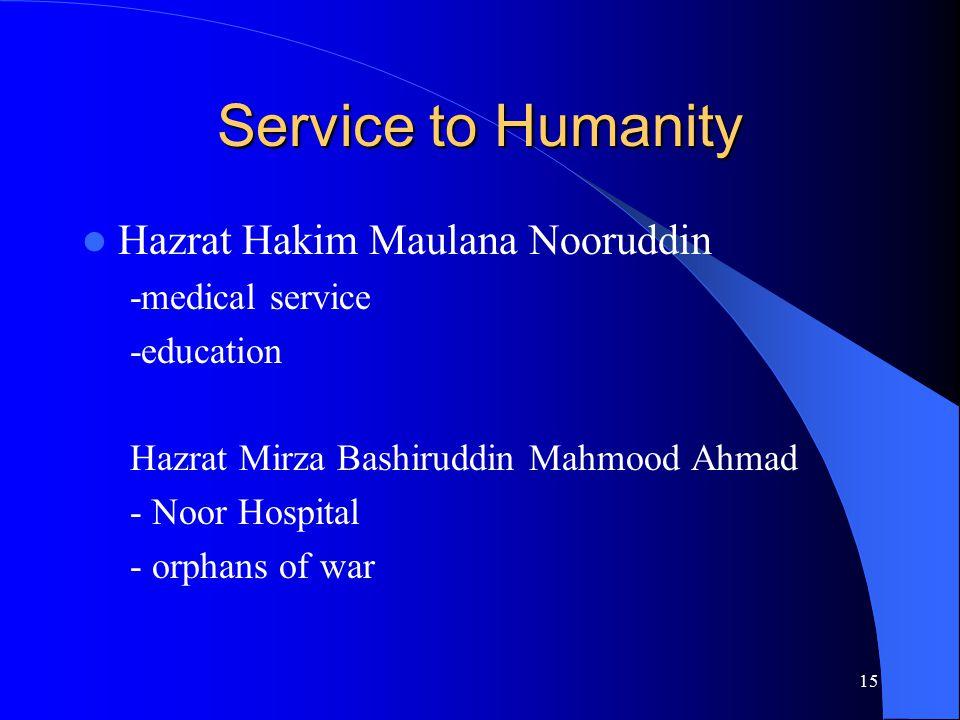 Service to Humanity Hazrat Hakim Maulana Nooruddin -medical service