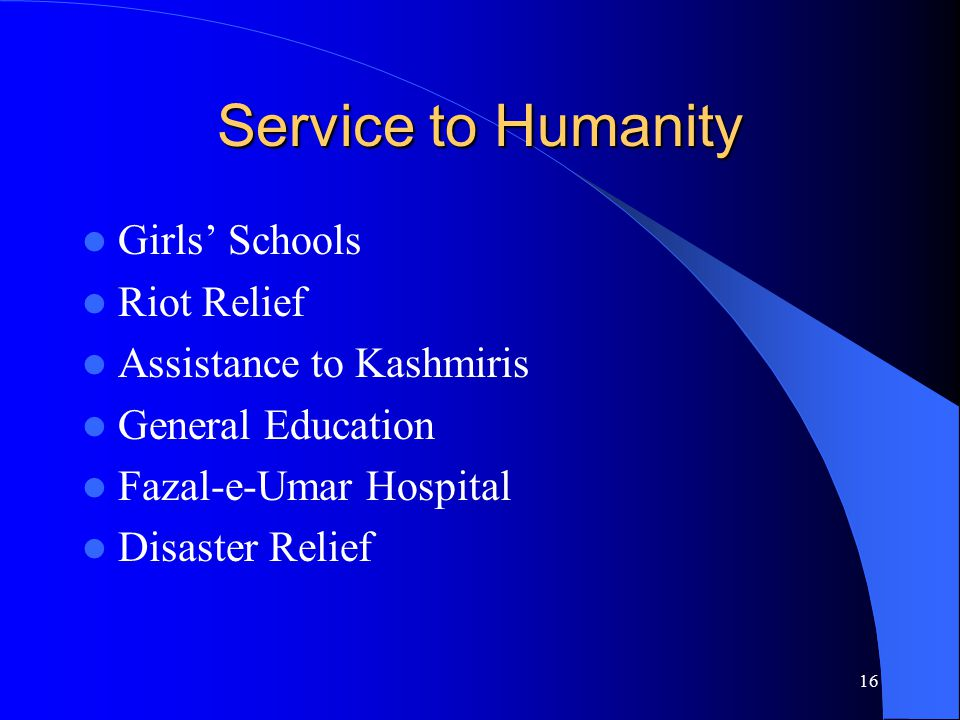 Service to Humanity Girls' Schools Riot Relief Assistance to Kashmiris