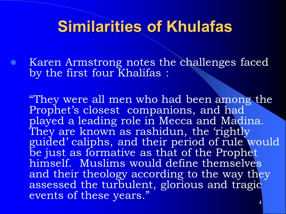 Similarities of Khulafas