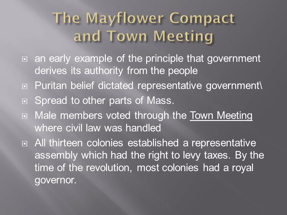 The Mayflower Compact and Town Meeting