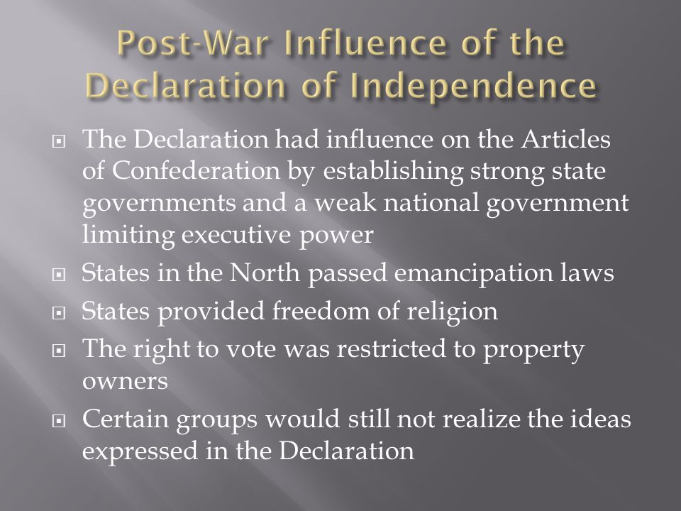Post-War Influence of the Declaration of Independence