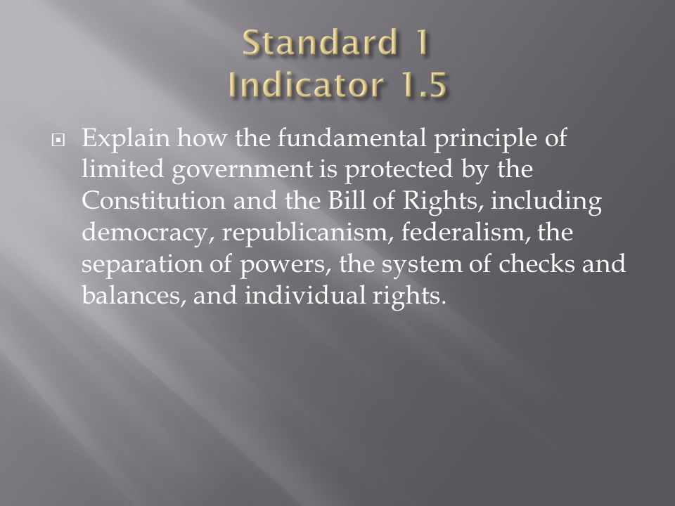 Standard 1 Indicator 1.5