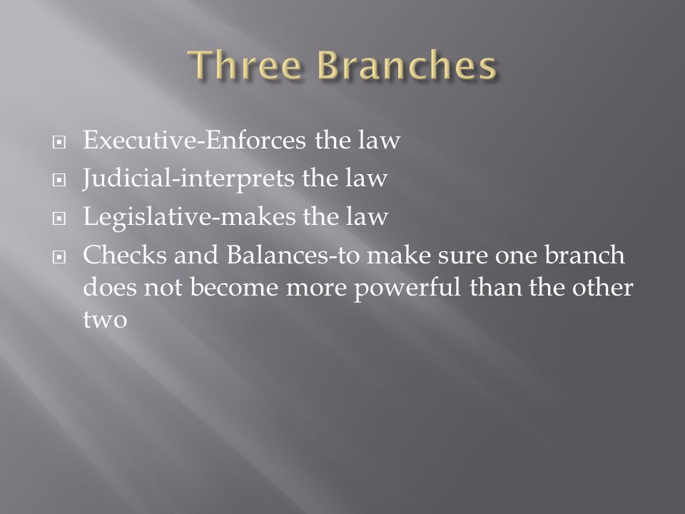 Three Branches Executive-Enforces the law Judicial-interprets the law