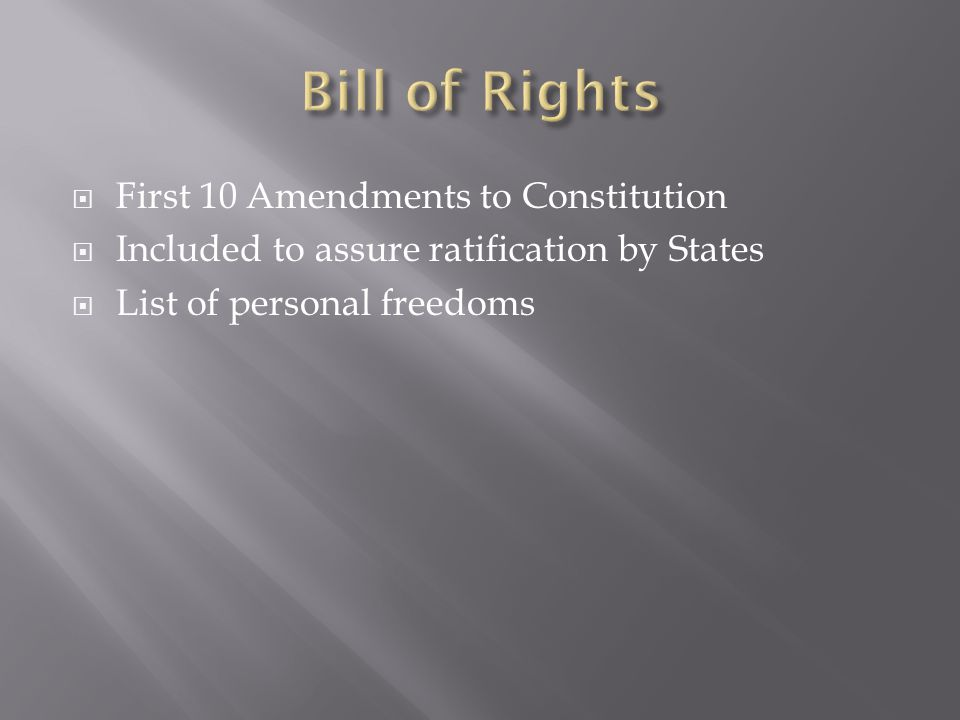 Bill of Rights First 10 Amendments to Constitution