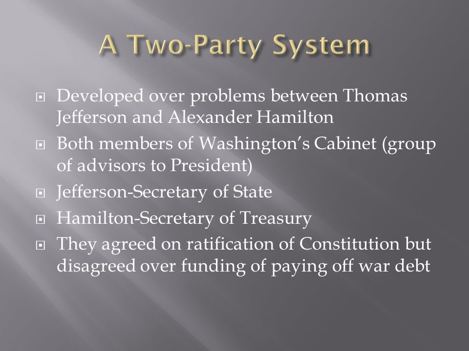 A Two-Party System Developed over problems between Thomas Jefferson and Alexander Hamilton.
