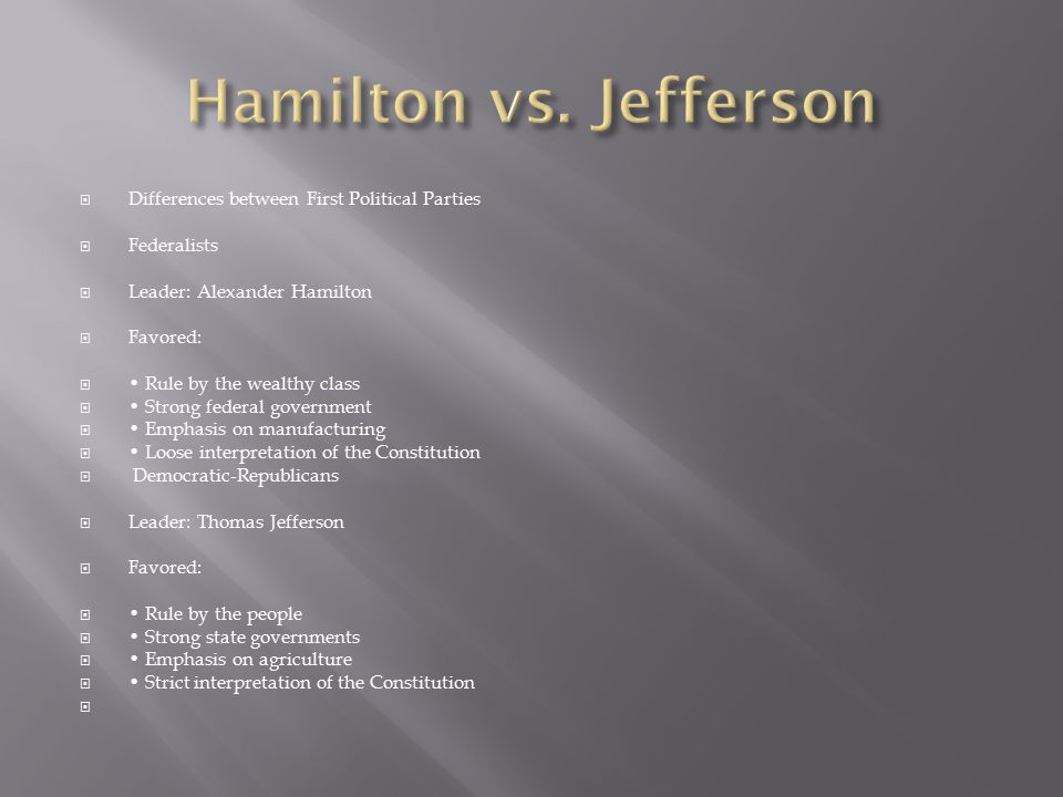 Hamilton vs. Jefferson Differences between First Political Parties