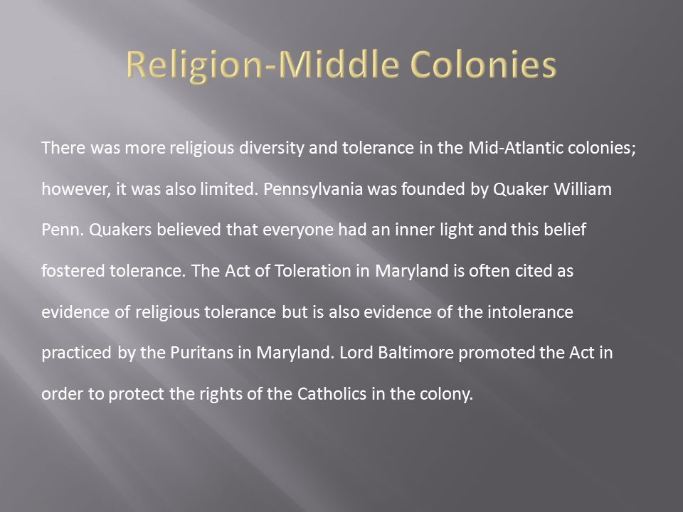 Religion-Middle Colonies