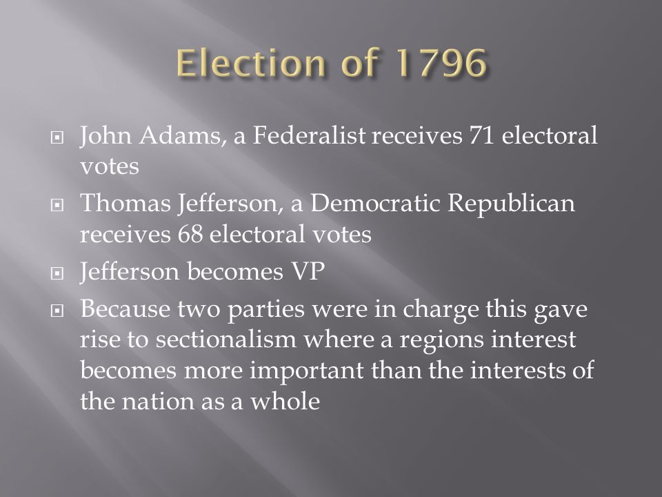 Election of 1796 John Adams, a Federalist receives 71 electoral votes