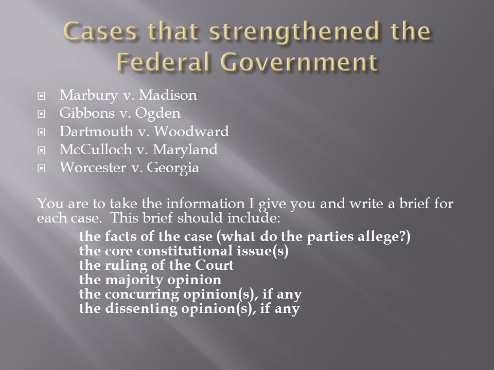 Cases that strengthened the Federal Government