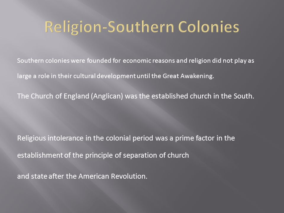 Religion-Southern Colonies