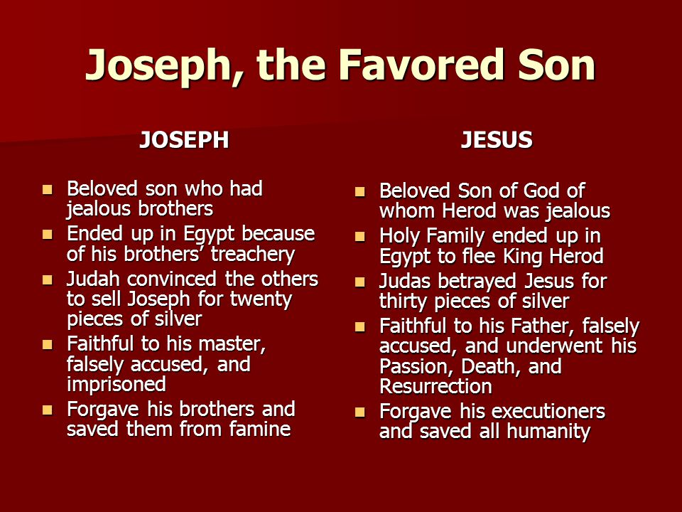 Joseph, the Favored Son JOSEPH JESUS