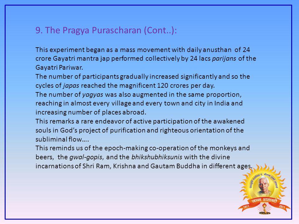 9. The Pragya Purascharan (Cont..):