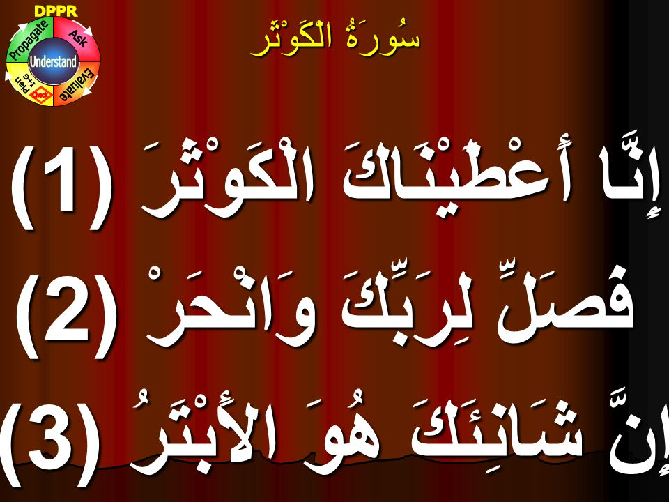 إِنَّا أَعْطَيْنَاكَ الْكَوْثَرَ (1) فَصَلِّ لِرَبِّكَ وَانْحَرْ (2)