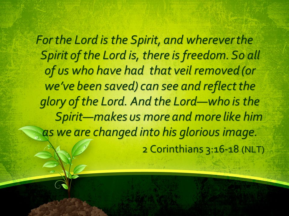 For the Lord is the Spirit, and wherever the Spirit of the Lord is, there is freedom. So all of us who have had that veil removed (or we've been saved) can see and reflect the glory of the Lord. And the Lord—who is the Spirit—makes us more and more like him as we are changed into his glorious image.