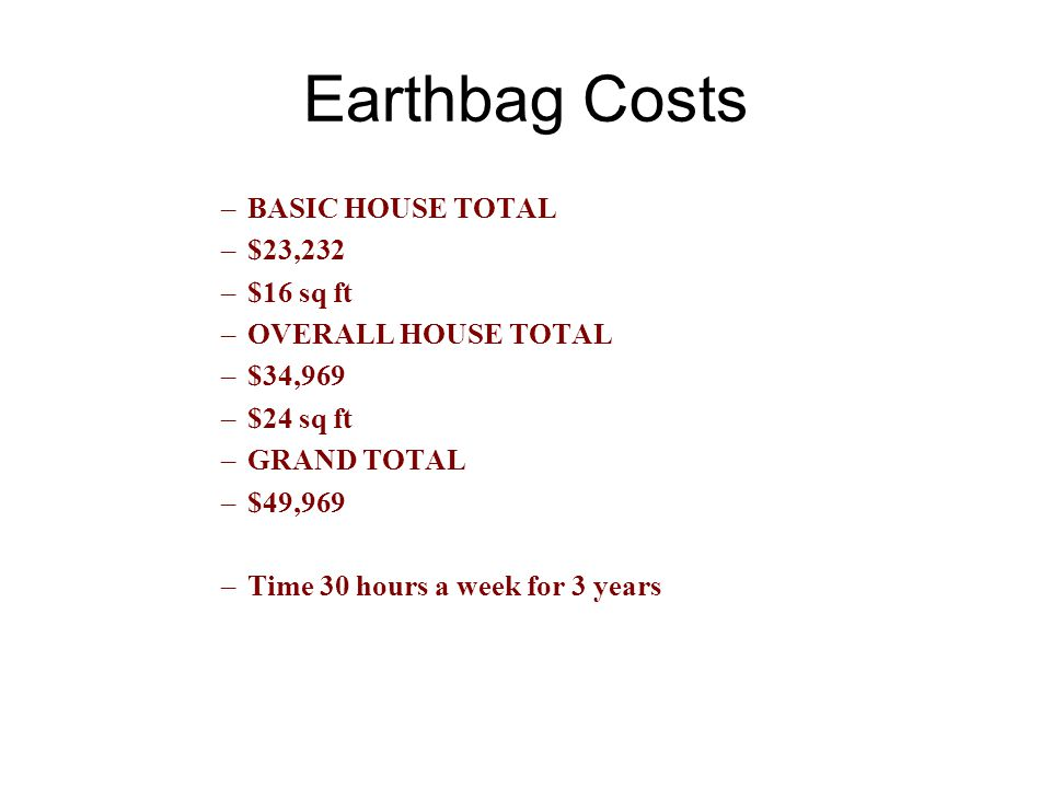 Earthbag Costs BASIC HOUSE TOTAL $23,232 $16 sq ft OVERALL HOUSE TOTAL