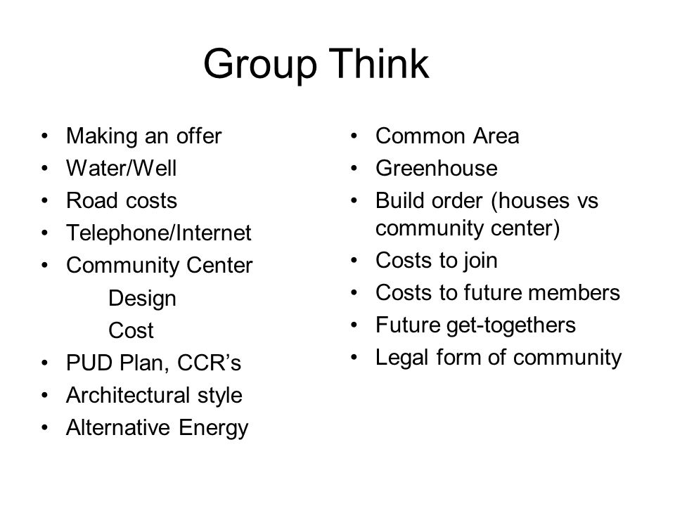 Group Think Making an offer Water/Well Road costs Telephone/Internet