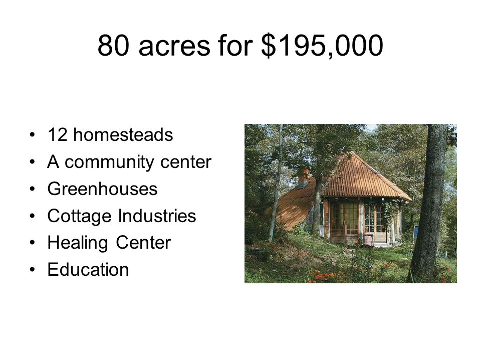 80 acres for $195,000 12 homesteads A community center Greenhouses