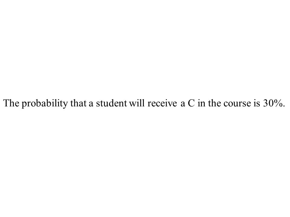 The probability that a student will receive a C in the course is 30%.