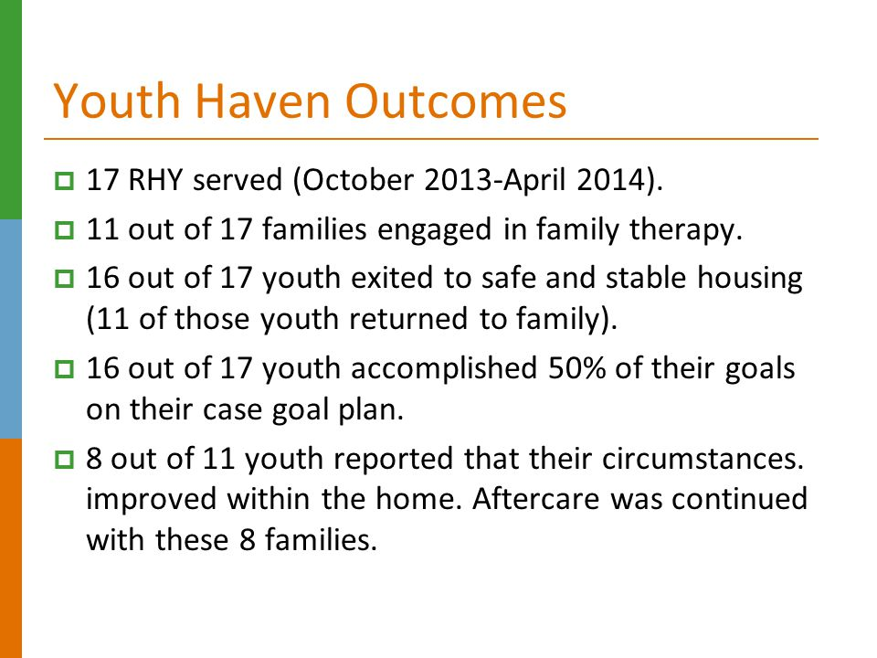 Youth Haven Outcomes 17 RHY served (October 2013-April 2014).