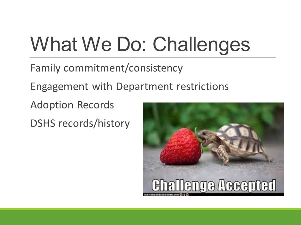 What We Do: Challenges Family commitment/consistency
