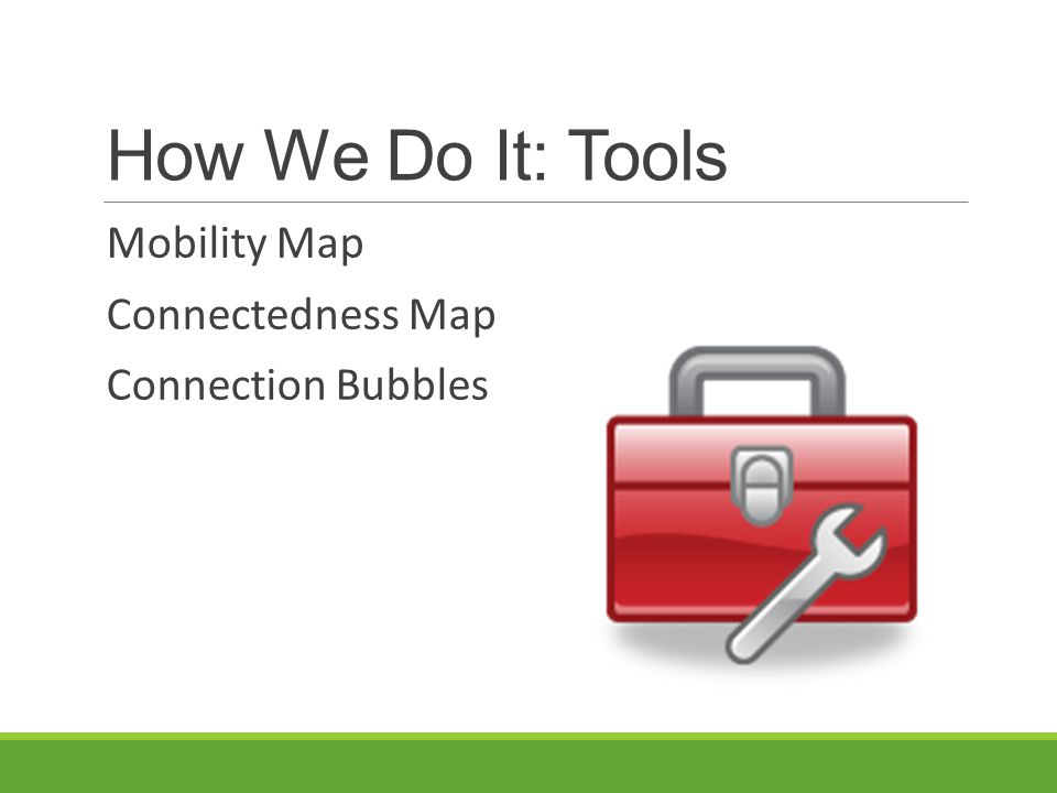 How We Do It: Tools Mobility Map Connectedness Map Connection Bubbles