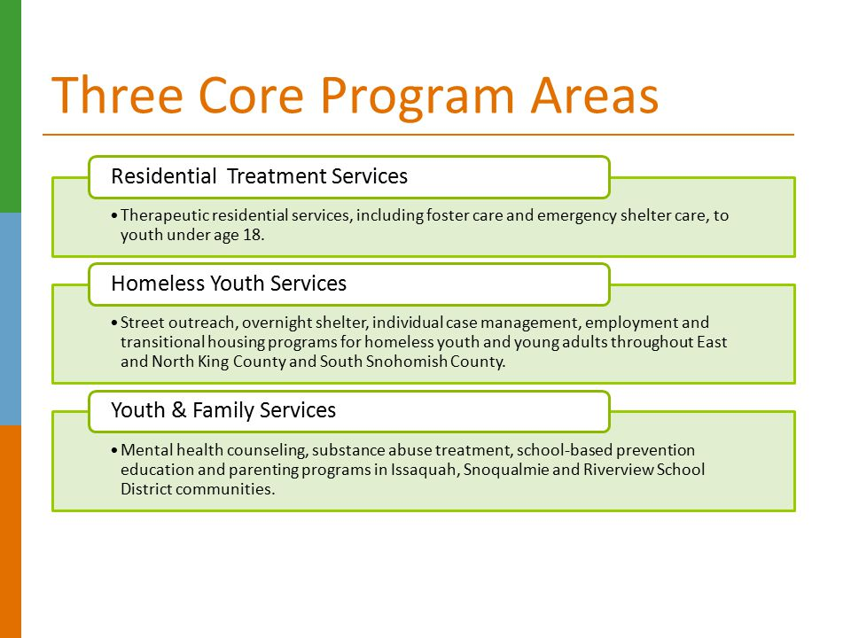 Three Core Program Areas
