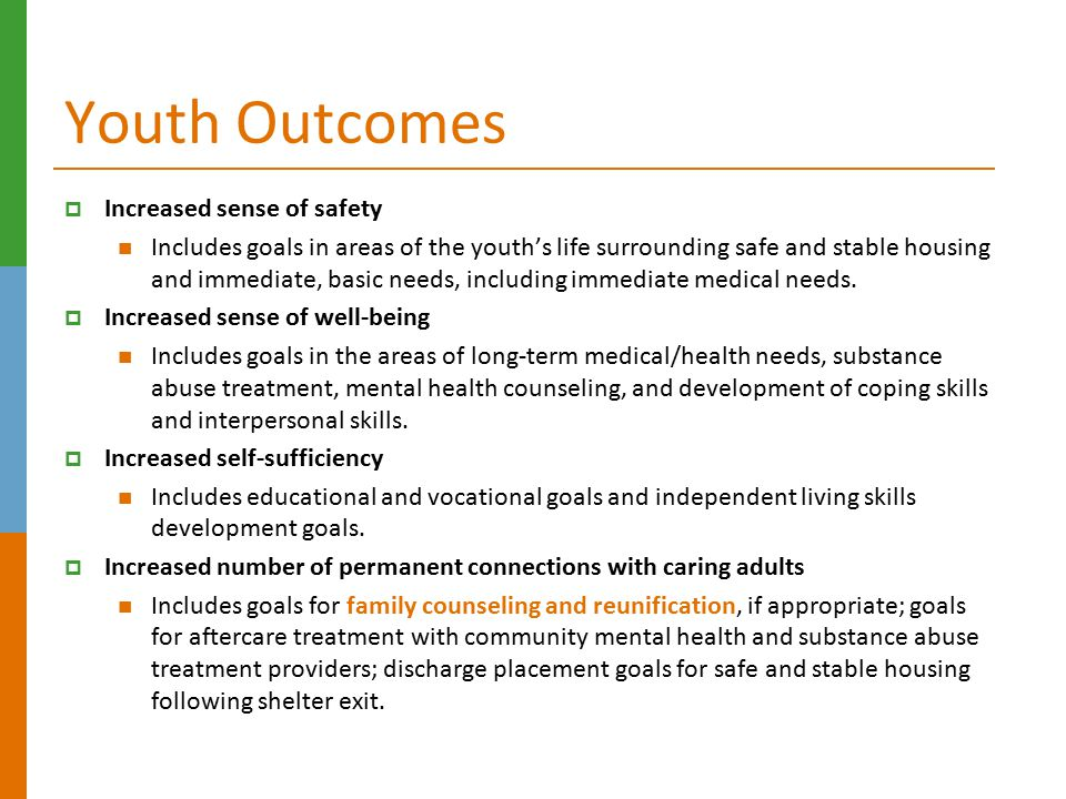 Youth Outcomes Increased sense of safety