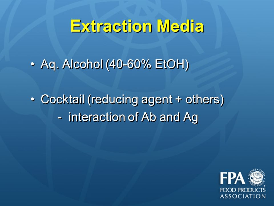 Extraction Media Aq. Alcohol (40-60% EtOH)