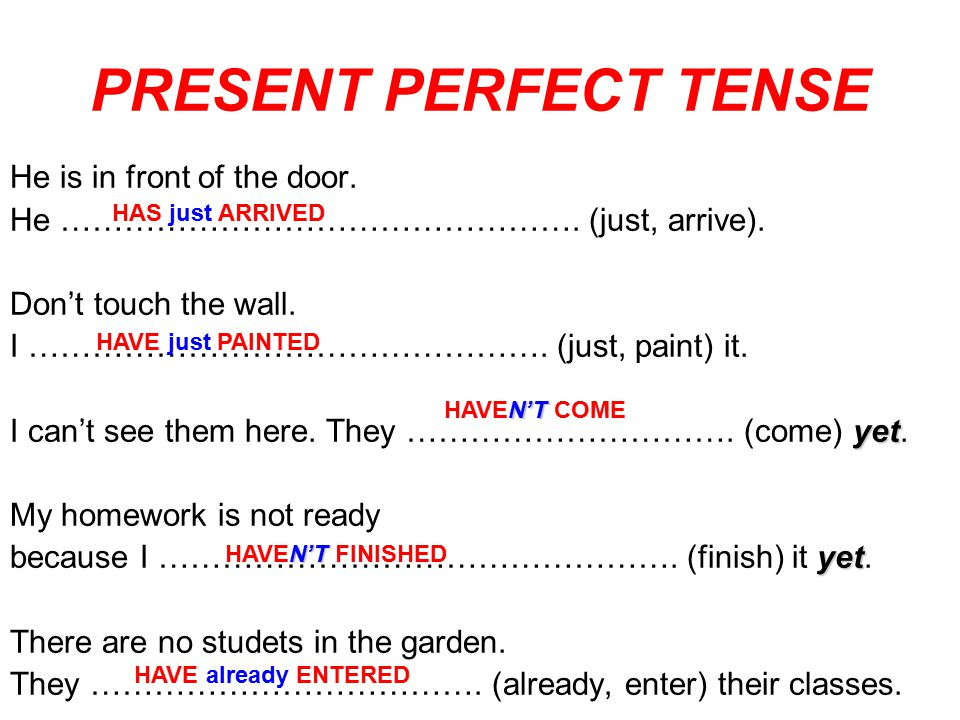 PRESENT PERFECT TENSE He is in front of the door.