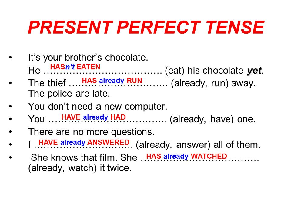 PRESENT PERFECT TENSE It's your brother's chocolate.