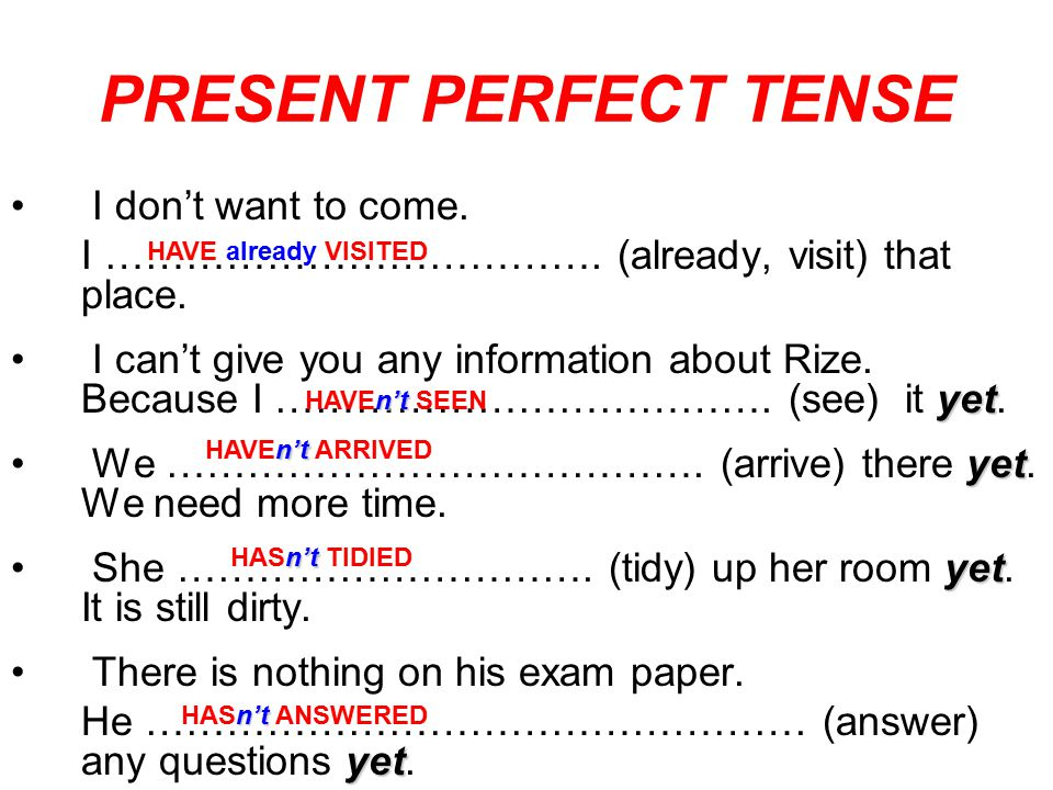 PRESENT PERFECT TENSE I don't want to come.