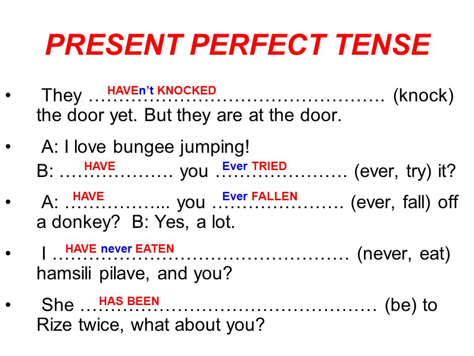 PRESENT PERFECT TENSE They …………………………………………. (knock) the door yet. But they are at the door. A: I love bungee jumping!