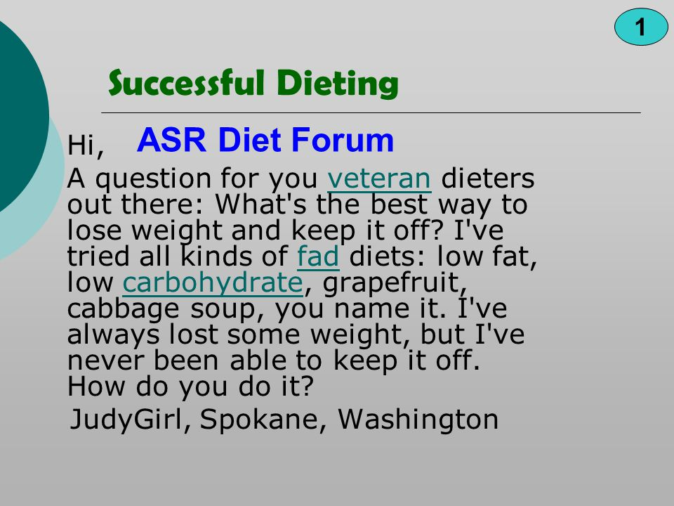 Successful Dieting ASR Diet Forum Hi,